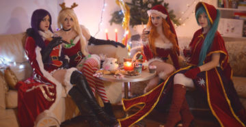 Mistletoe LeBlanc, Slay Belle Katarina, Candy Cane Miss Fortune i Silent Night Sona z League of Legends